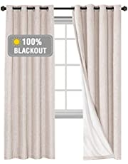 100% Blackout Curtains for Bedroom/Living Textured Linen Look Thermal Insulated Blockout Window Curtain Draperies with White Backing