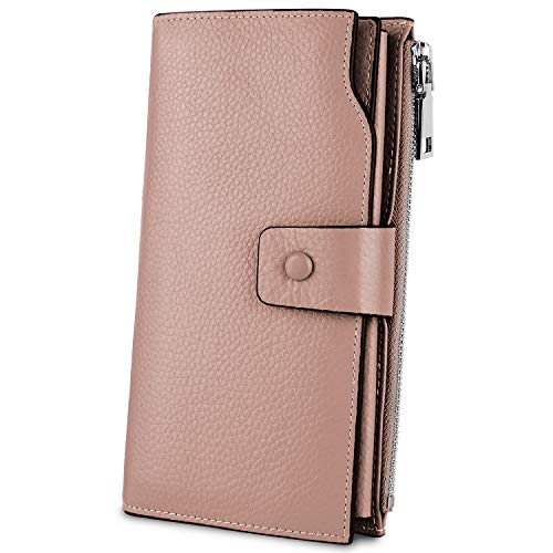 YALUXE Women's Genuine Leather RFID Blocking Large Capacity Luxury Clutch Wallet Card Holder Organizer Ladies Purse Wallets for women pebbled light pink