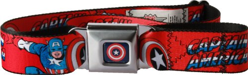 Captain America W/shield/text Repeat Red Seatbelt Belt (Hawkeye Belt)