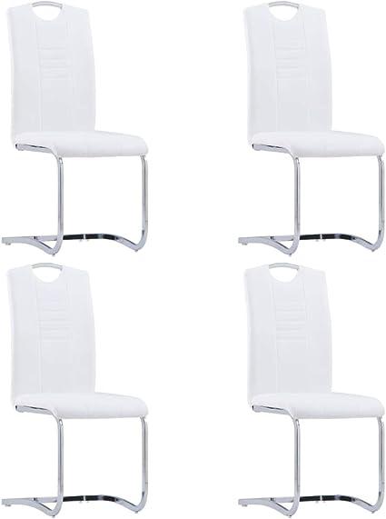 vidaXL 4x Chaise Salle /à Manger Cantilever Simili Cuir Forme U Blanc Cuisine