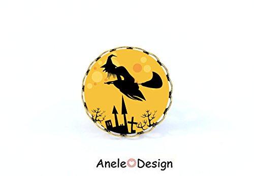 Bague Sorcière - Halloween - cabochon jaune noir perles