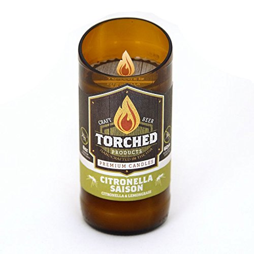 Torched 8 Ounce Beer Bottle Premium Candles - 60 Hour Burn Time - Citronella Saison -