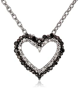 Women's Sterling Silver Black and White Diamond Heart Pendant Necklace (1/10 cttw)