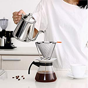 Pour Over Coffee Dripper Stainless Steel Coffee Filter,Reusable Pour Over Coffee Filter Cone Coffee Dripper with Removable Cup Stand and Brush (Color: Silver, Tamaño: 1-2 Cup)