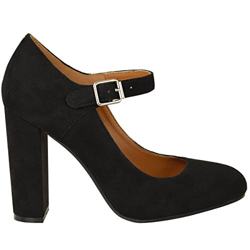 Thirsty Womens Mary Jane Black Formal Strappy Faux Heels Shoes Block Office High Fashion Size Suede Court H04Tpwqxd