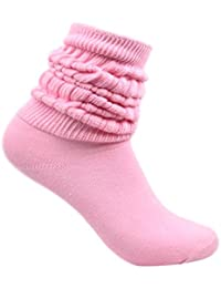 Pink Slouch Scrunchy Heavy Fitness Long Ribbed Winter Socks
