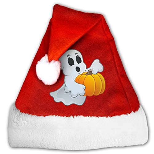 FGHJKL Pumpkin Clipart Ghost Plush Santa Hat Comfortable Double Thick Plush Red Velvet Cap]()