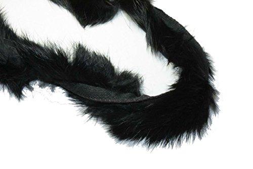 Real Rabbit Fur Piping Trim for Collar, Cuffs (Black)