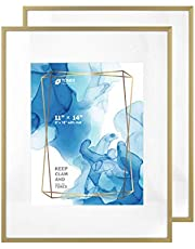 Metal Photo Picture Frame, Beveled Frame (Aluminum Satin Finished) with a Mat and Tempered Glass