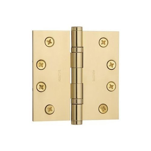 Baldwin 1041.003 Full Mortise 4-Inch x 4-Inch Ball Bearing Hinge, Lifetime Polished Brass