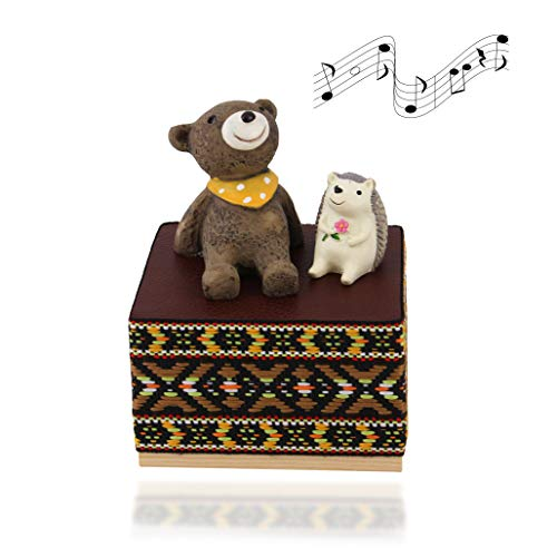 (Wooden Animals Music Box Bear with Hedgehog with Beautiful Melody Hand Cranked for Birthday Gift Home Decor Lovers Friends Kids Valentines Day, Brown)