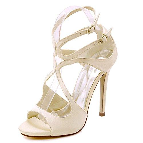 Tacco 8 Matrimonio 06 Bridal Elegant Grande Multicolor shoes 7216 Open Alto Champagne da high 3 Donna Satin Décolleté Toe Taglia TEBEFAq