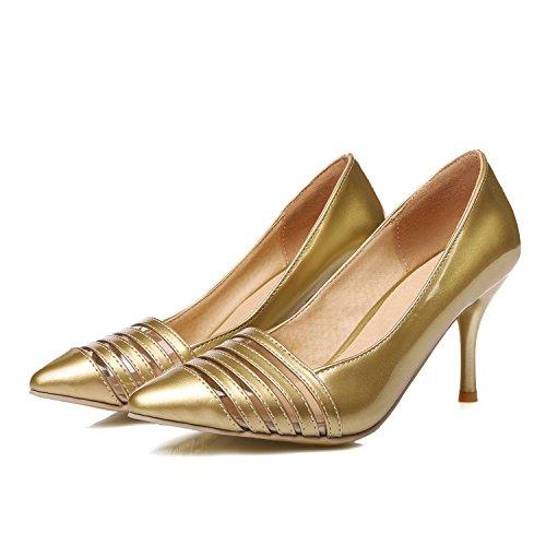 XDGG donne grandi dimensioni piccole scarpe Stiletto Heel Fashion Pointed Toe Sposa Scarpe Primavera E Estate Scarpe Singole , gold , 32 custom 2-4 days do not return
