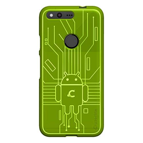(Cruzerlite Google Pixel Case, Bug Droid Circuit TPU Case for Google Pixel - Retail Packaging - Green)