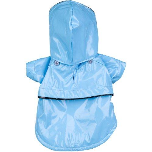 PET LIFE 'Baby Blue' PVC Waterproof Designer Fashion Adjustable Pet Dog Coat Jacket Raincoat w/ Removable Hood, X-Small, Light Blue