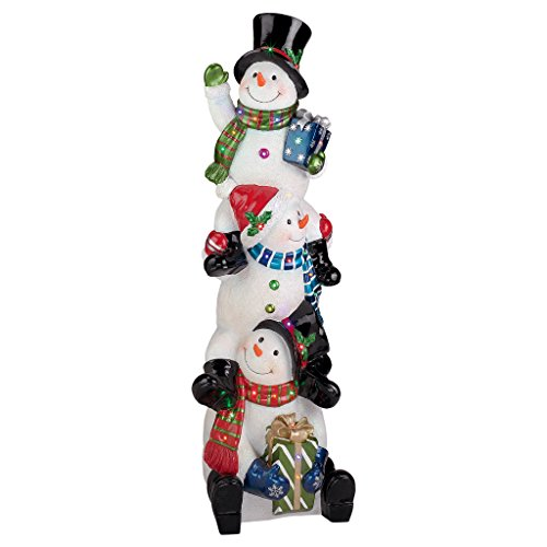 Christmas Decorations - Large 4 Foot Tall Snowflake SnowBros Illuminated Snowman Statue - LED Holiday Decor
