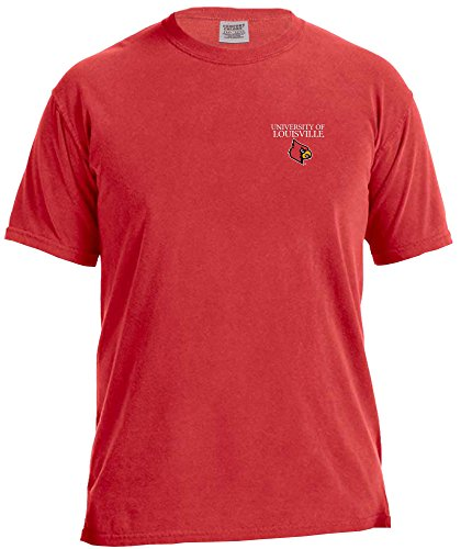 NCAA Louisville Cardinals Simple Circle Comfort Color Short Sleeve T-Shirt, Red,Large