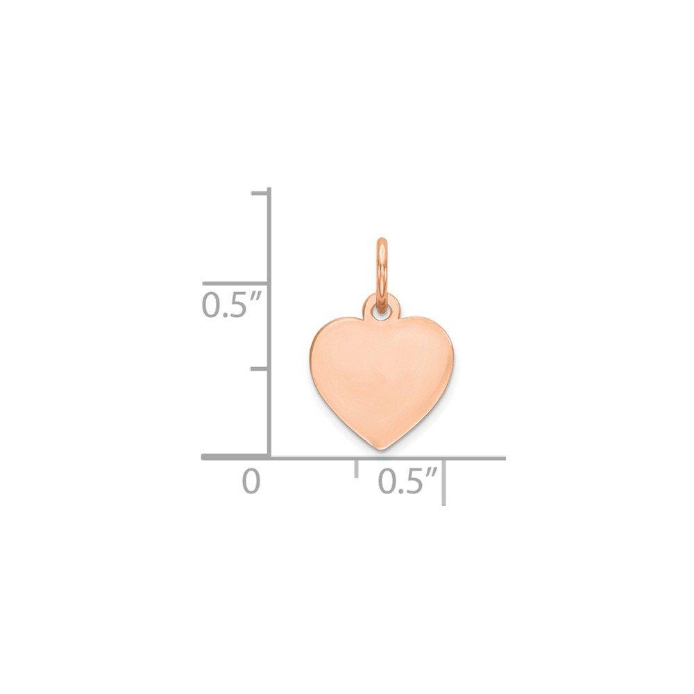 Jewel Tie 14k Rose Gold Plain .011 Gauge Engraveable Heart Disc Pendant Charm 10mm x 16mm