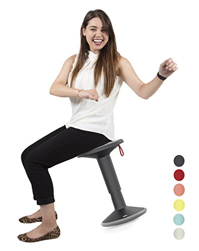 Stand Steady Active Motion Stool for Seating Performance with Active Sitting - Premium Ergonomic Stool / Ergonomic Office Chair for Comfort & Back Pain Relief - Made in Germany (Black/Gray) - Stationary Seating