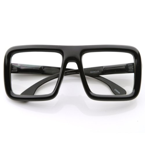Vintage Inspired Fashion Large Classic Bold Thick Square Frame Clear Lens - Frames Thick Glasses