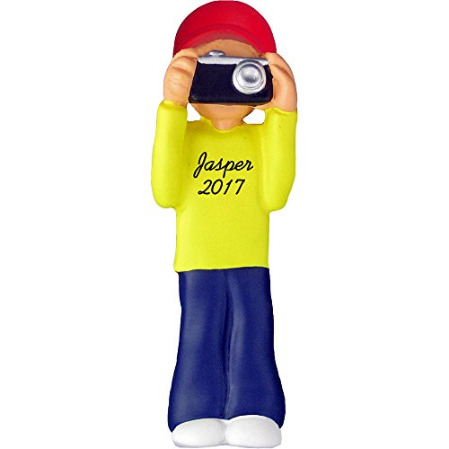 Photographer Personalized Christmas Ornament - Male - Holding Camera - 4