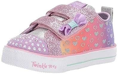 Skechers Australia Shuffle LITE - Sparkly Hearts Girls Training Shoe, Lavender/Multi, 5 US