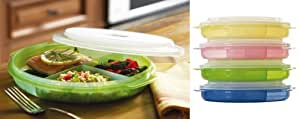 Microwave Divided Plates With Vented Lids - (Set of 4 pink, green, blue and yellow)
