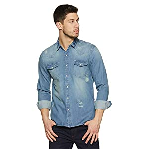 Amazon Brand – Inkast Denim Co. Men's Solid Slim Fit Full Sleeve Cotton Casual Shirt