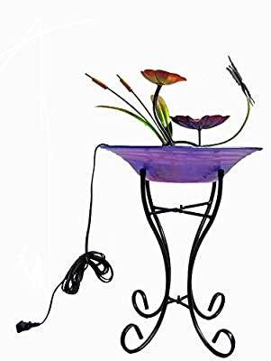 Continental Art Center Butterfly Fountain Includes 12-Inch Glass Bowl and 14-Inch Metal Base, 12 by 12 by 32-Inch