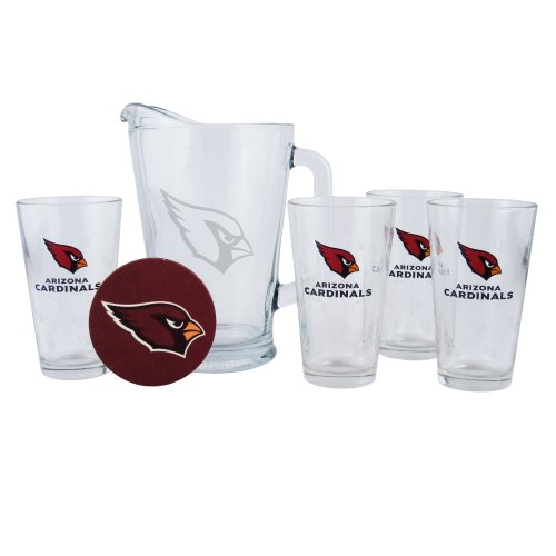 Boelter Brands Arizona Cardinals Satin Etch Pitcher and 4 Glass Gift Set