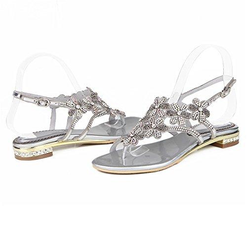 Bohemia Diamante Mujer Sandalias Zapatos Playa De Verano Chancletas En T Silver Señoras Plano Correa Nvxie Imitación Yqxnd77