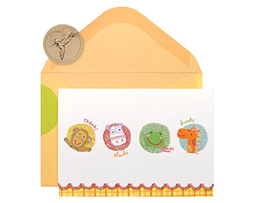 Papyrus Animal Thank You Boxed Blank Note Cards with Glitter, 14-Count