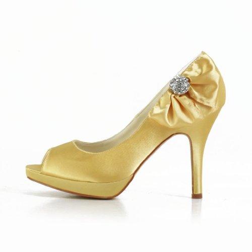 Jia Jia Wedding 3708A Hochzeitsschuhe Brautschuhe Damen Pumps Gold