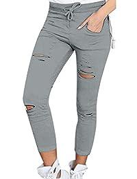 YACUN Women's Ripped Casual Skinny Pencil Jeans Pants
