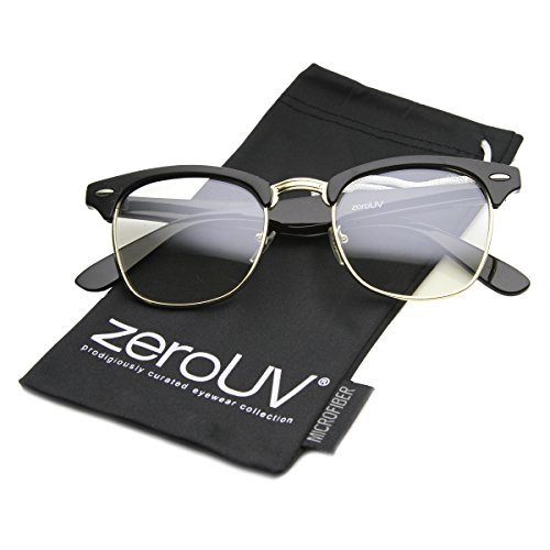 zeroUV Vintage Inspired Classic Horn Rimmed Nerd Horn Rimmed UV400 Clear Lens Glasses (Clear | Black-Gold) 49 ()