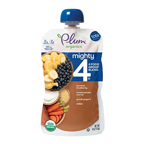 Plum Organics Mighty 4, Organic Toddler Food, Banana, Blueberry, Sweet Potato, Carrot, Greek Yogurt and Millet, 4 ounce pouches (Pack of 12) (Packaging May Vary)