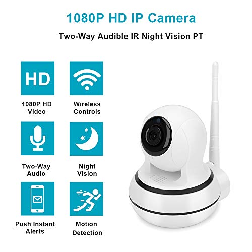 VisionGood Wireless Pan/Tilt 2.4Ghz 1080P Security Surveillance Indoor Camera Home/Office, Two-Way Audio & Night Vision Baby/Elder/Pet/Nanny/Home Care Remote Monitoring On iOS/Android Devices