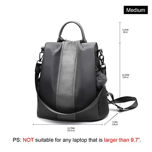 Purse Women Backpack Shoulder Anti Nylon School Waterproof Lightweight Gray theft Rucksack Bag fZ7qS