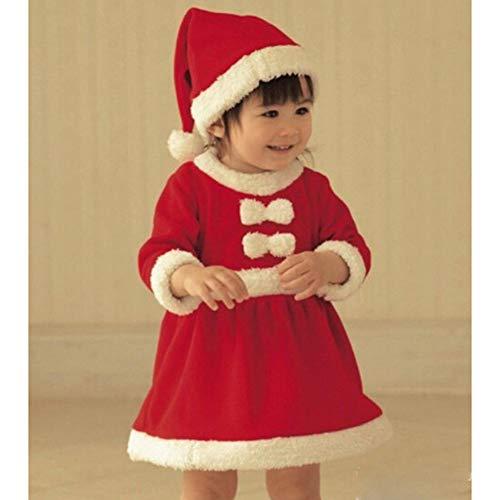 Cosanter Pijamas y Algodón Conjunto de Navidad Forrado con Durmiente Disfraz Bebé Niño Papá Noel Invierno Rojo Niña