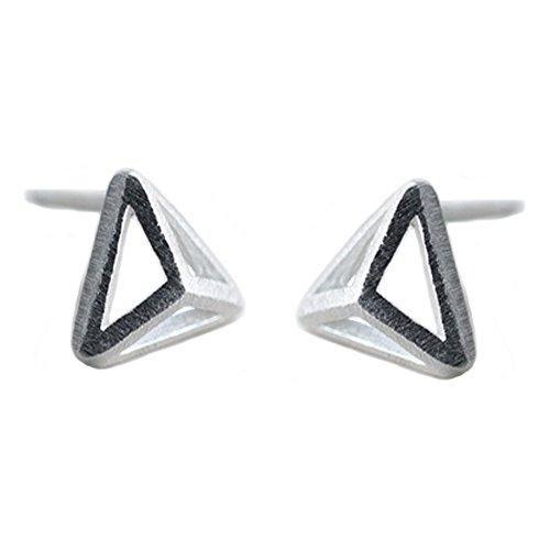 Helen de Lete Simple Pattern Minimalist Simplified 3D Triangle Sterling Silver Stud Earrings