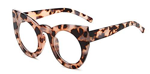 Gafas de de Hykis marca gris de marco gafas ojo grande de la del anteojos Sol lujo transparente manera de leopardo gato mujer de Sombras las estilo de de Nueva SEEqfZz