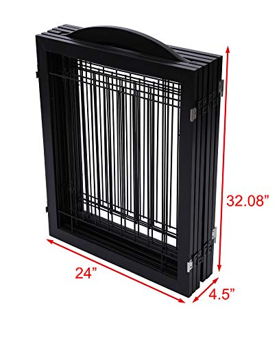 PAWLAND 144-inch Extra Wide 30-inches Tall Dog gate with Door Walk Through, Freestanding Wire Pet Gate for The House, Doorway, Stairs, Pet Puppy Safety Fence, Support Feet Included, Espresso,6 Panels by PAWLAND (Image #6)