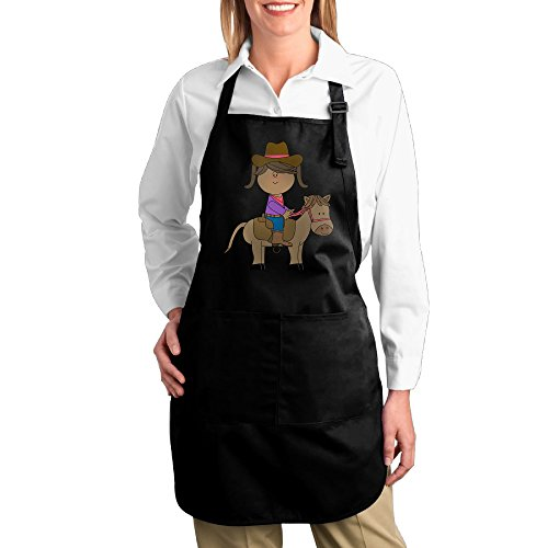 Dogquxio Horse Riding Kitchen Helper Professional Bib Apron With 2 Pockets For Women Men Adults Black
