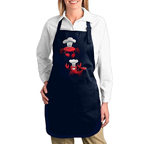 - Dogquxio Cheerful Smiling Red Lobster Chef Kitchen Helper Professional Bib Apron With 2 Pockets For Women Men Adults Navy