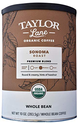 TAYLOR LANE Organic Coffee, Whole Bean, 10 Ounce (Sonoma Roast)