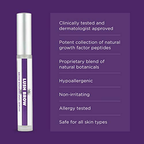 bd2560fdb8a LUSH BROW Eyebrow & Eyelash Rapid Growth Serum with Growth Peptides-  Dermatologist Developed Brow &
