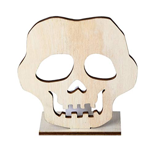 Beioust DIY Wooden Halloween Skull Hollow Pendant Plate Ornament with LED Candy Light Lamp Home Party Decor Supplies -