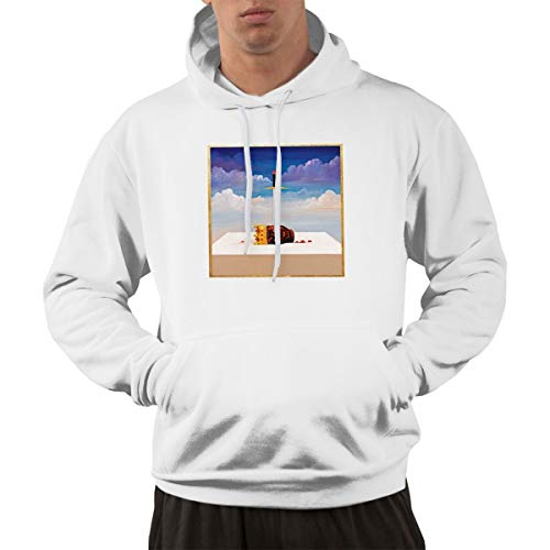 Maxdot Male Classic Pocket Hooded Sweatshirt Kanye West My Beautiful Dark Twisted Fantasy Pullover Hoodie Hooded XXL White (Kanye West My Beautiful Dark Twisted Fantasy Listen)