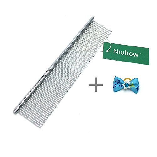 Niubow Pet Grooming Tools - Stainless Steel Pet Comb for Dogs and Cats 7-1/2 Inch