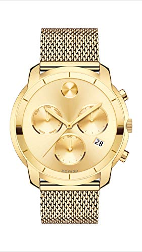 Mens Chronograph Yellow - Movado Men's BOLD Thin Yellow Gold Chronograph Watch with a Printed Index Dial, Gold (Model 3600372)